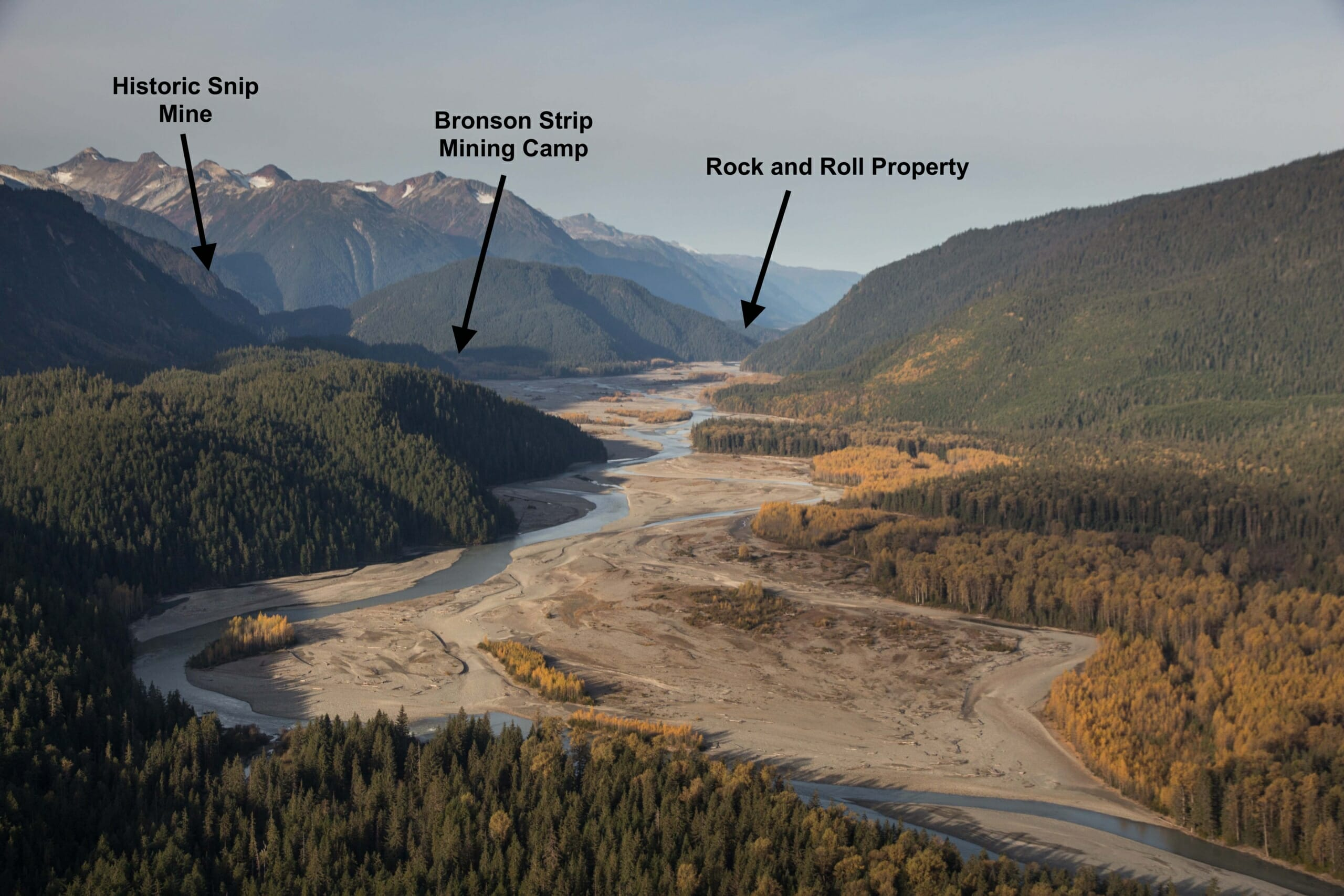 Looking West Down the Iskut River with Bronson Airstrip and Rock and Roll in the Distance